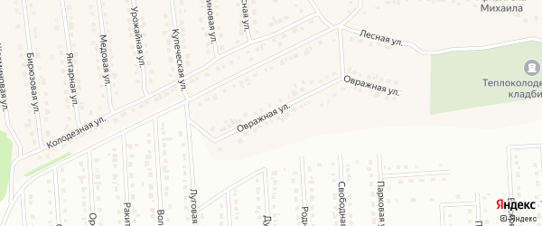 Овражная улица на карте села Теплого Колодезя с номерами домов