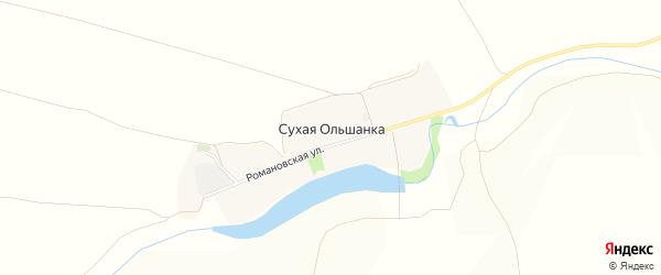 Карта села Сухой Ольшанки в Белгородской области с улицами и номерами домов