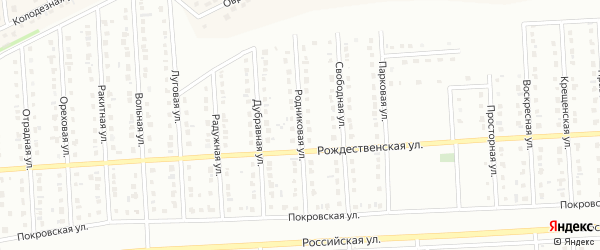Родниковая улица на карте Юбилейного микрорайона с номерами домов