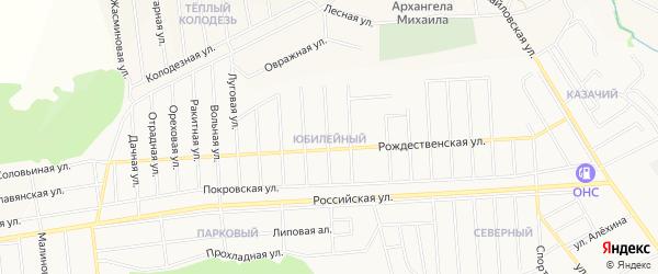Карта Юбилейного микрорайона города Губкина в Белгородской области с улицами и номерами домов
