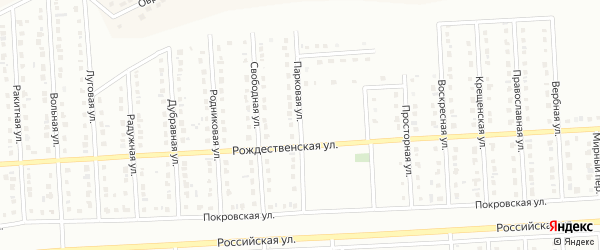 Парковая улица на карте Юбилейного микрорайона с номерами домов