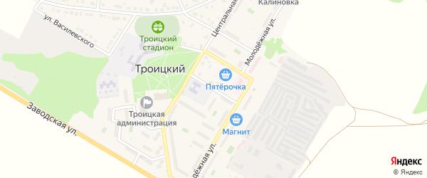 Садовый переулок на карте Троицкого поселка с номерами домов