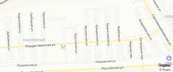 Воскресная улица на карте Юбилейного микрорайона с номерами домов