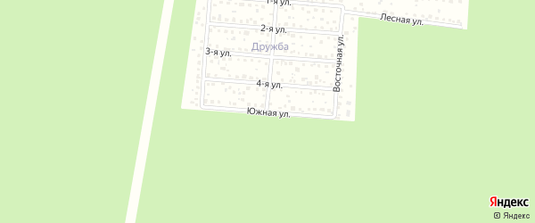 Южная улица на карте садового некоммерческого товарищества Дружбы с номерами домов