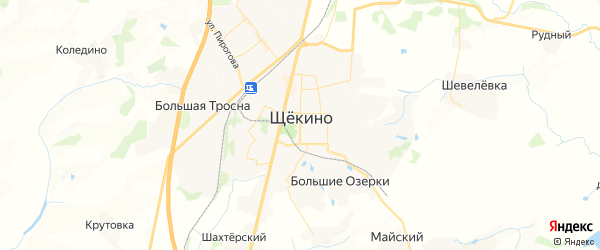 Карта Щекино с районами, улицами и номерами домов