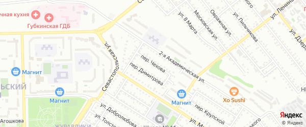 Переулок Чехова на карте Губкина с номерами домов