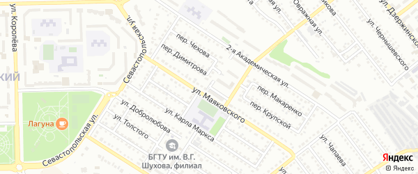 Переулок Кутузова на карте Губкина с номерами домов