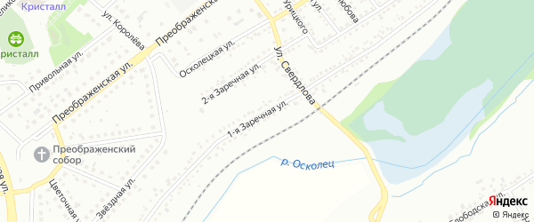 Заречная 1-я улица на карте Губкина с номерами домов