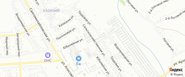 Сельскохозяйственная улица на карте Губкина с номерами домов