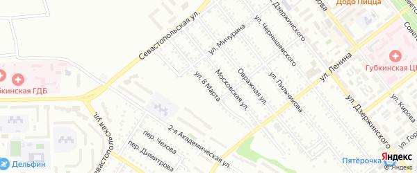 Улица 8 Марта на карте Губкина с номерами домов