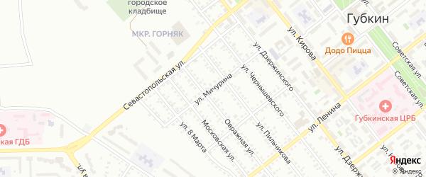 Улица Мичурина на карте Губкина с номерами домов
