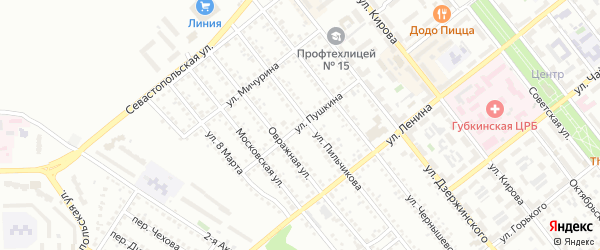 Улица Пушкина на карте Губкина с номерами домов