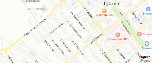 Улица Чернышевского на карте Губкина с номерами домов