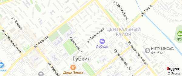 Улица Белинского на карте Губкина с номерами домов