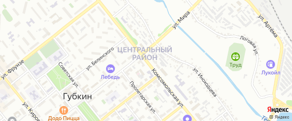 Комсомольская улица на карте Губкина с номерами домов