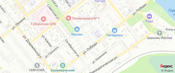Зеленый переулок на карте Губкина с номерами домов