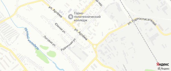 Территория ГСК 8 ул Артема на карте Губкина с номерами домов