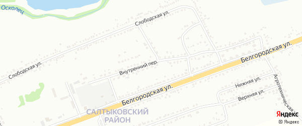 Внутренний переулок на карте Губкина с номерами домов