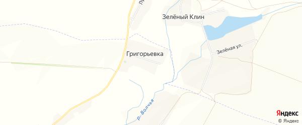 Карта хутора Григорьевки в Белгородской области с улицами и номерами домов
