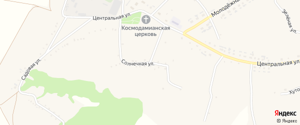 Солнечная улица на карте Огибного села с номерами домов