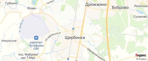 Карта Щербинки с районами, улицами и номерами домов