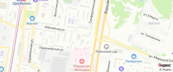Территория ТСЖ Юбилейная 18 на карте Щербинки с номерами домов