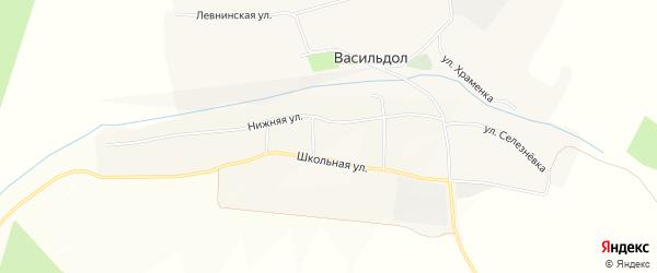 Карта села Васильдола в Белгородской области с улицами и номерами домов