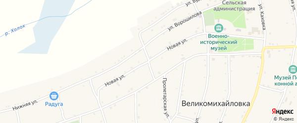 Новая улица на карте села Великомихайловки с номерами домов