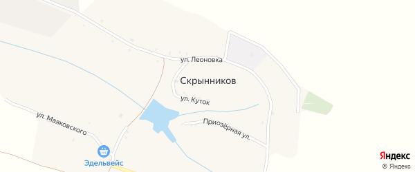 Приозерная улица на карте хутора Скрынникова с номерами домов