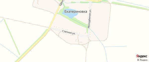 Центральная улица на карте хутора Екатериновки с номерами домов
