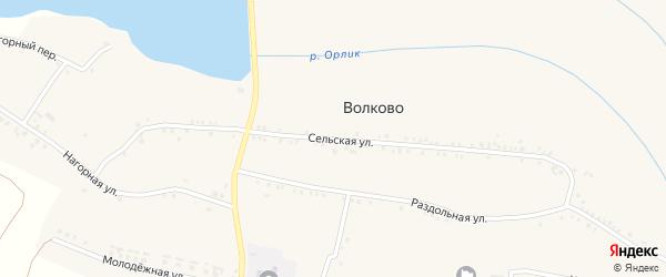 Сельская улица на карте села Волково с номерами домов