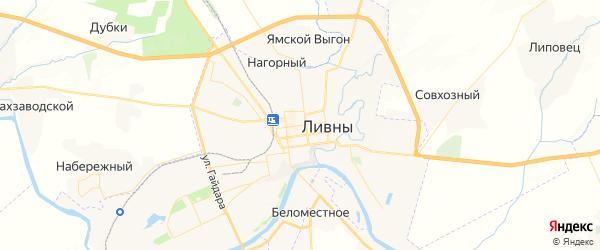 Карта Ливен с районами, улицами и номерами домов: Ливны на карте России