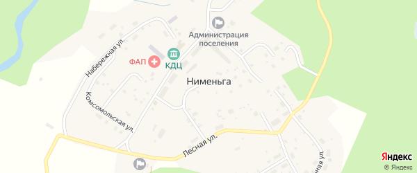 Комсомольская улица на карте поселка Нименьги с номерами домов