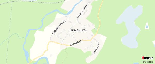 Карта деревни Нименьги в Архангельской области с улицами и номерами домов