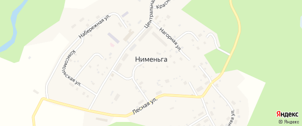 Набережная улица на карте поселка Нименьги с номерами домов