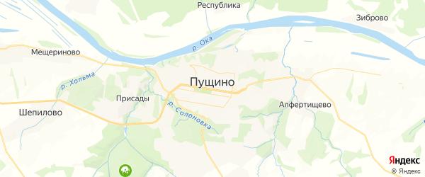 Карта Пущино с районами, улицами и номерами домов