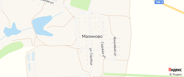 Вишневая улица на карте поселка Малиново с номерами домов