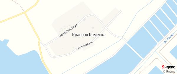 Молодежная улица на карте хутора Красной Каменки с номерами домов
