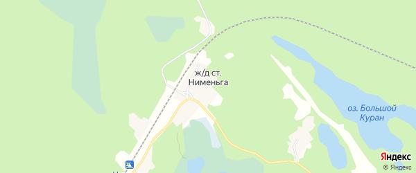 Карта железнодорожной станции Нименьги в Архангельской области с улицами и номерами домов