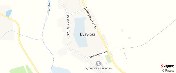 Восточная улица на карте села Бутырки с номерами домов