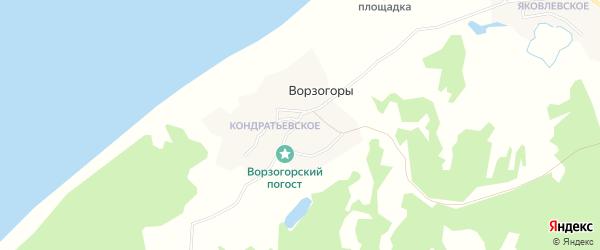 Карта деревни Ворзогор в Архангельской области с улицами и номерами домов