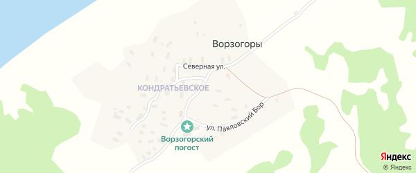 Центральная улица на карте деревни Ворзогор с номерами домов