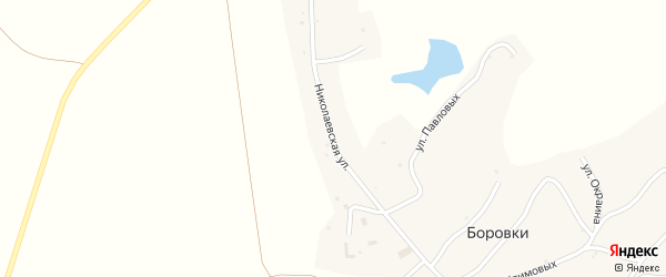 Николаевская улица на карте села Боровки с номерами домов