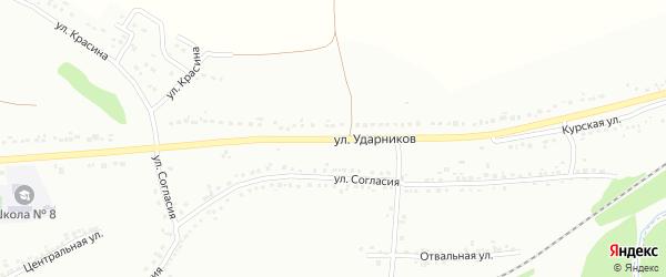 Улица Ударников на карте Губкина с номерами домов