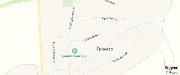Улица Ворочек на карте села Гринево с номерами домов