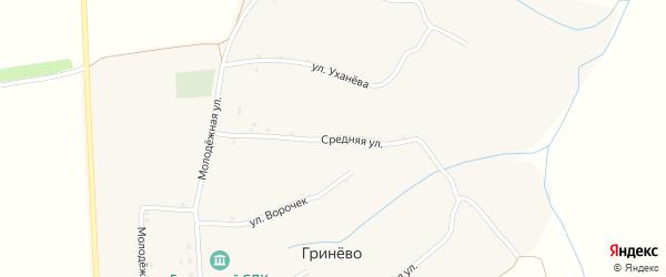Средняя улица на карте села Гринево с номерами домов