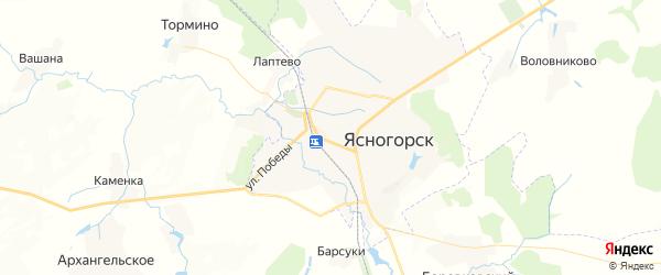 Карта Ясногорска с районами, улицами и номерами домов