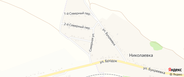 Северная улица на карте села Николаевка (Песчанский с/о) с номерами домов