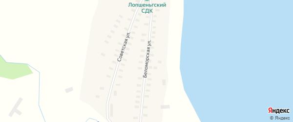 Беломорская улица на карте деревни Лопшеньга с номерами домов