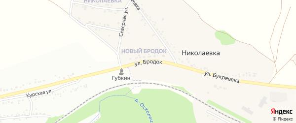 Улица Бродок на карте села Николаевка (Песчанский с/о) с номерами домов